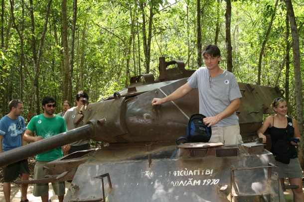American tank in the forest of Cu Chi, Vietnam.